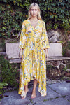 Maxi Asymmetric Dress Sienna in Sunflower Print