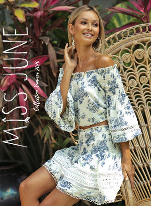 Miss June Wallpaper print Off The Shoulder Top Yasmine