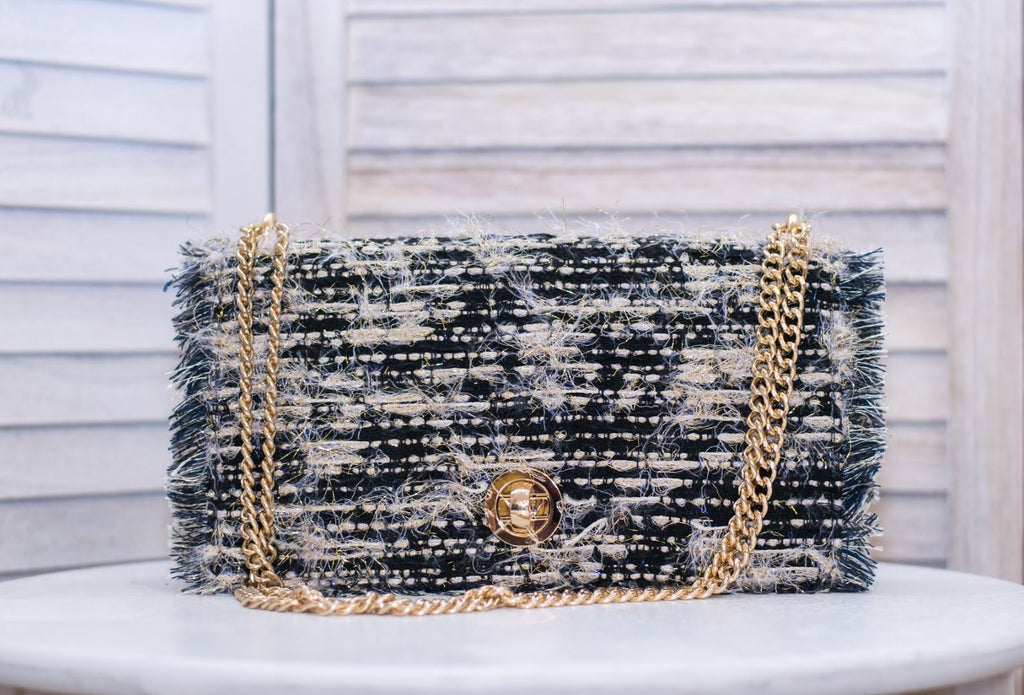 Tweed Shoulder Bag with gold lurex and fringe trim