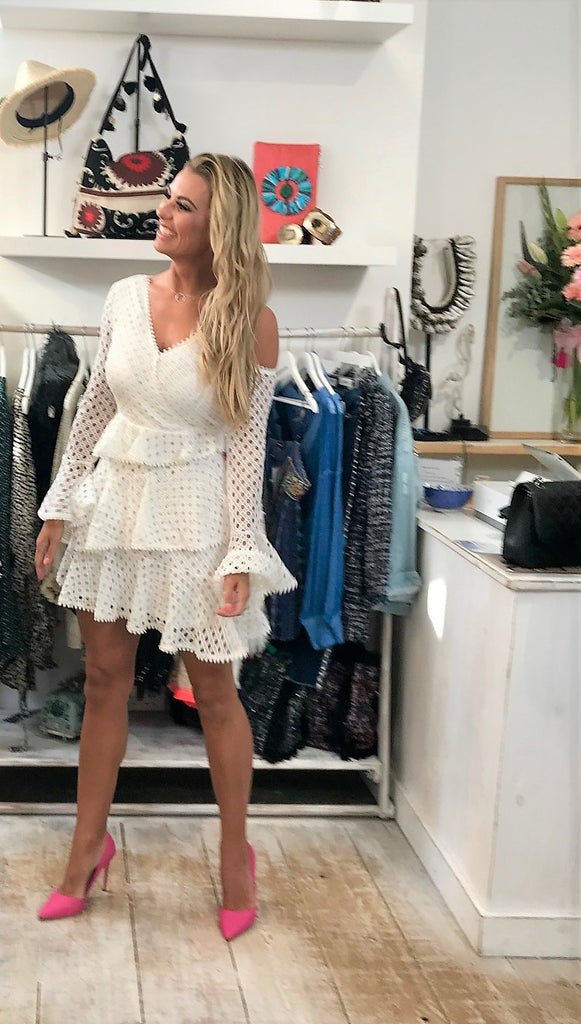 White Lace Ruflle Dress Monaco