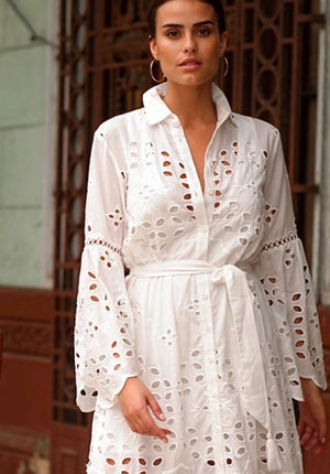 White embroidered dress Clarissa