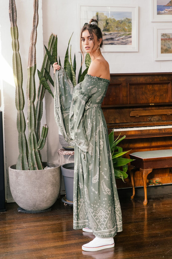 821349d797b Smocked Maxi Dress Maggie in Sage Green Scarf print – OutDazl