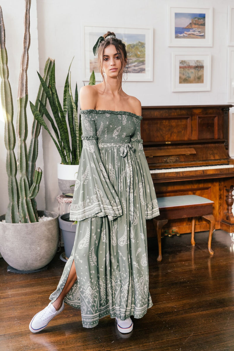 Smocked Maxi Dress Maggie in Sage Green Scarf print
