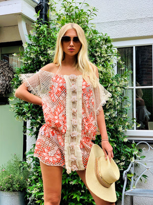 Lace off shoulder Tunic dress Havana in Neon Coral