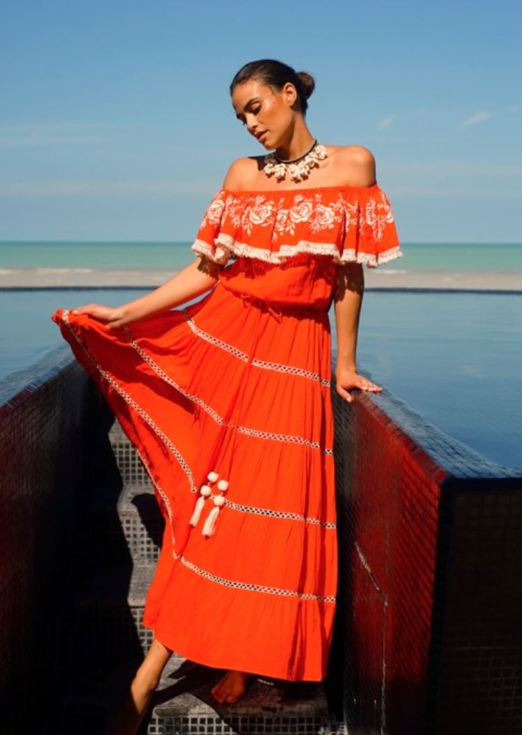 miss june Coral Maxi Dress Cali