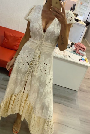 Cream Embroidery Maxi hi low dress Costa