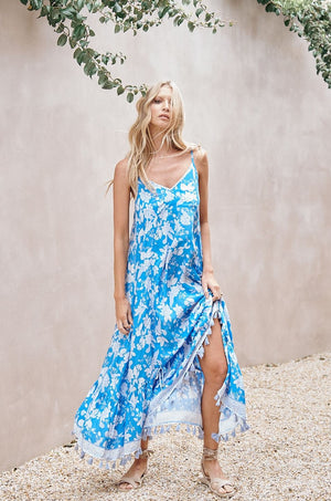 Erdem Print Kimi Maxi Dress with Tassel Trim