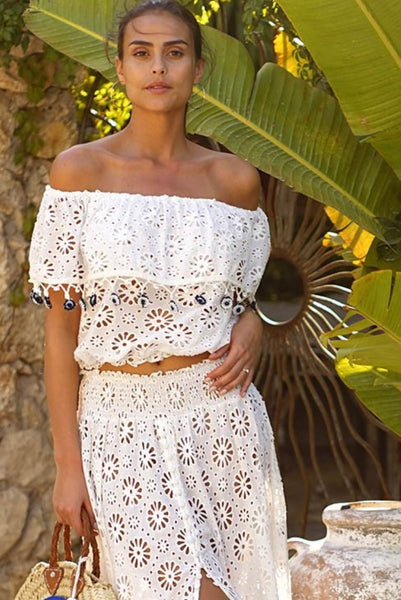 01cc7b75b39 Embroidery Off The Shoulder Cotton Top Cristal