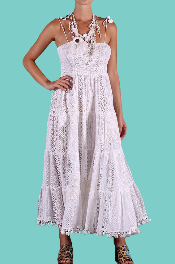 1b3d6e3fe298 White Bandeau Lace Maxi Dress Como – OutDazl