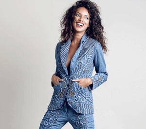 Denim embellished blazer by Diamond for eden