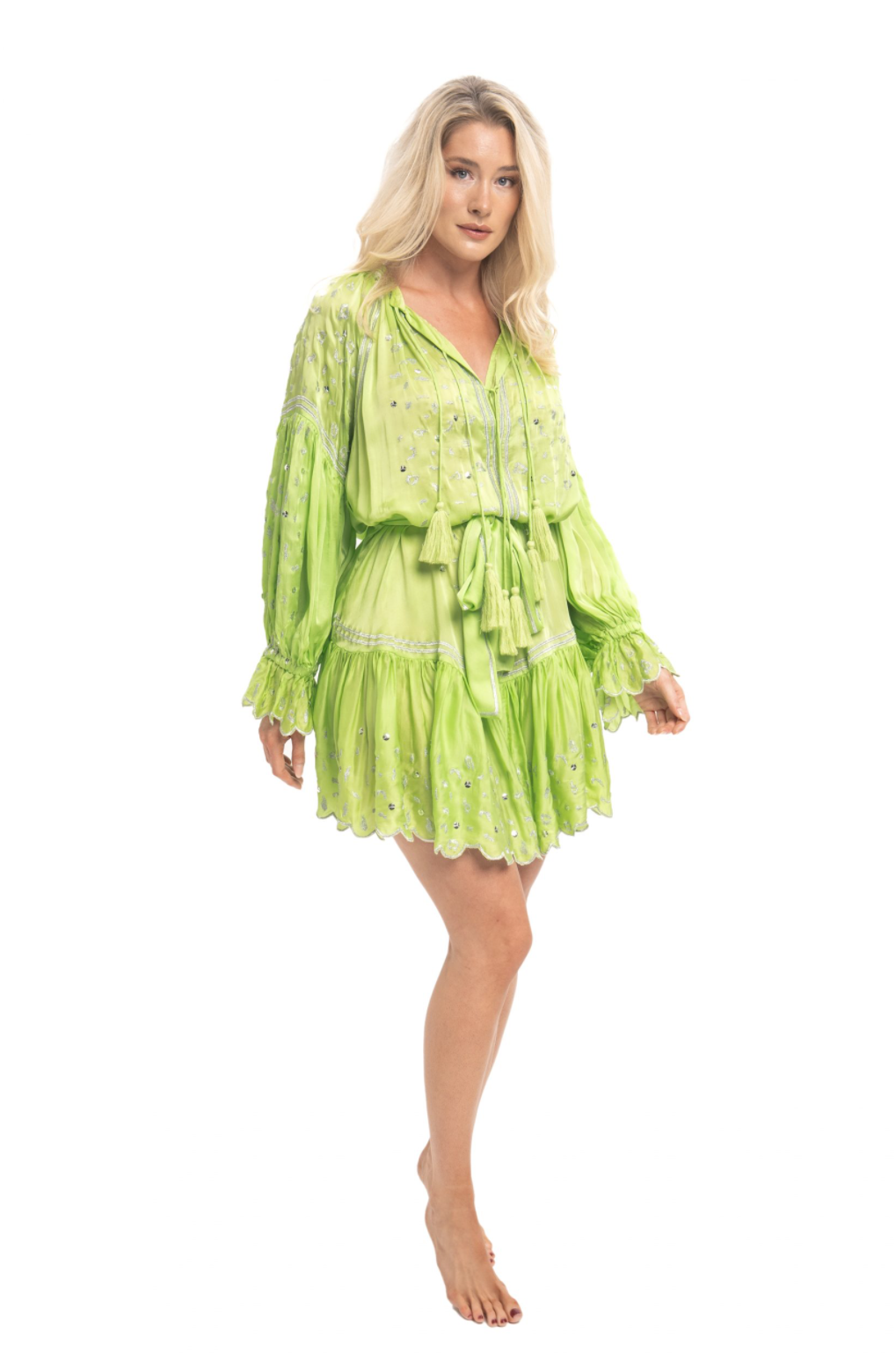 Silky Dress Preen in Neon Lime & Silver leopard Print