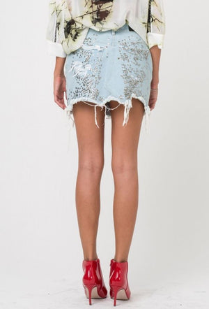 Sequin Denim Skirt Dash in Light Blue