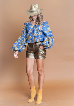 Denim top Donna with statement gold embroidery