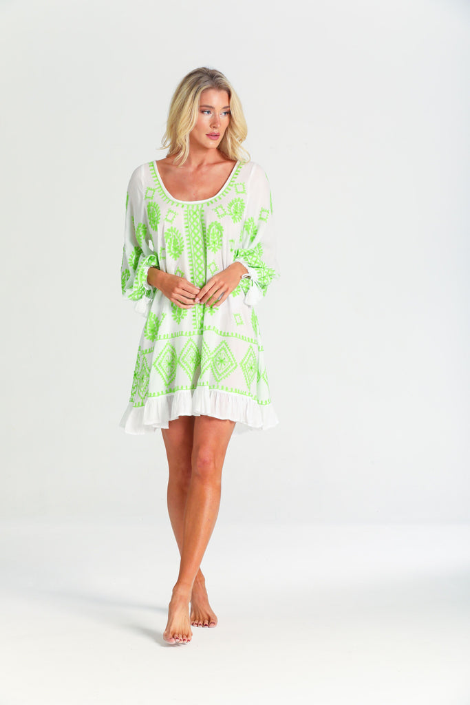 Dolly Kaftan Dress in White / Lime