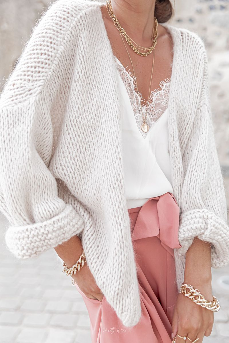 Chunky open knit White Cardigan Luna
