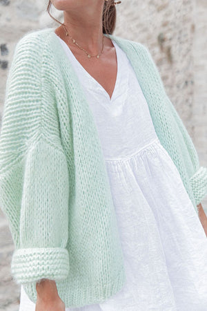 Chunky open knit Mint Cardigan Luna