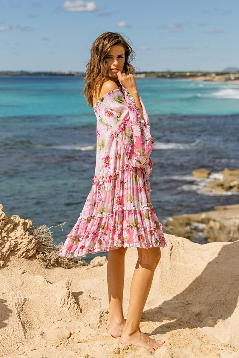 Off the shoulder Dress Fleur in Pink