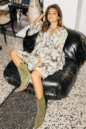 Miss June Khaki Tie Dye Midi Dress Flowy