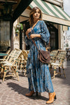 Designer Maxi Dress Gabrielle in Blue print