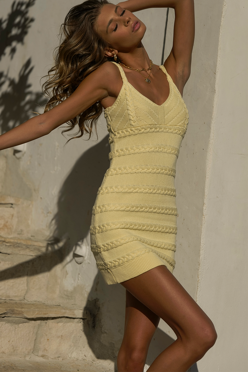 Dukes Knit Mini Dress in Lemon