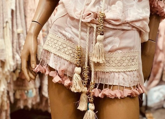 Blush Petal beaded shorts.