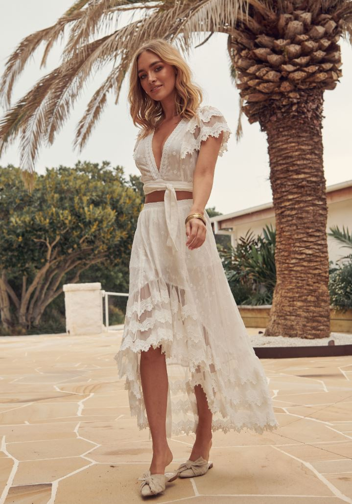 White Embroidered Lace Top & Skirt Set Kacy