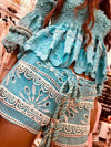 Embroidered Shorts Americano in Turquoise