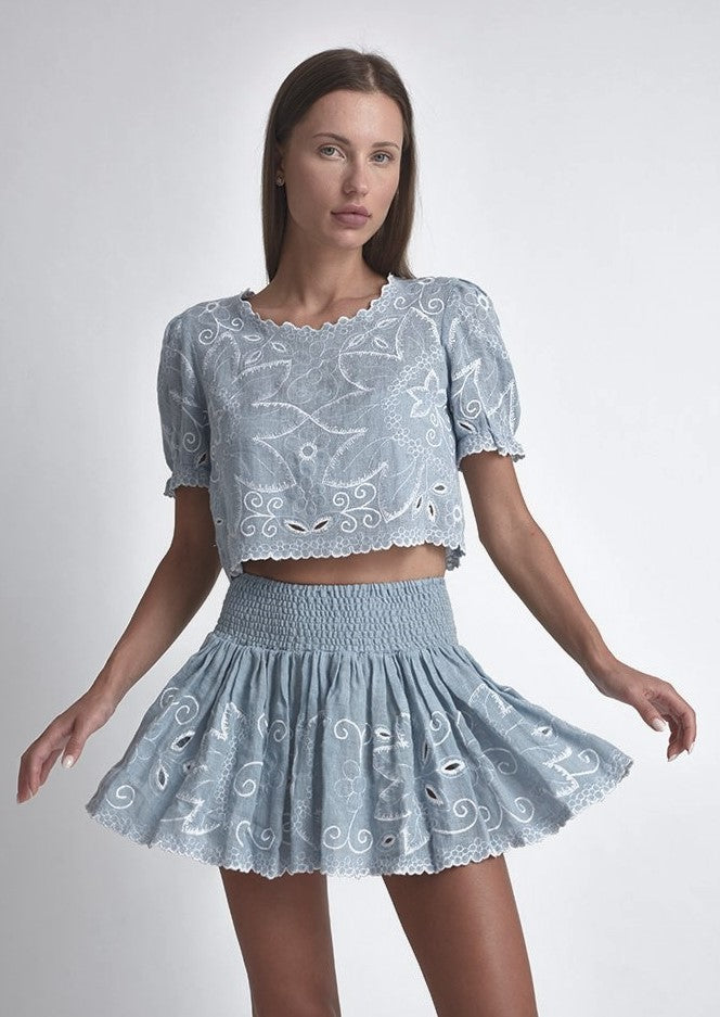 Mika Embroidered Crop Top
