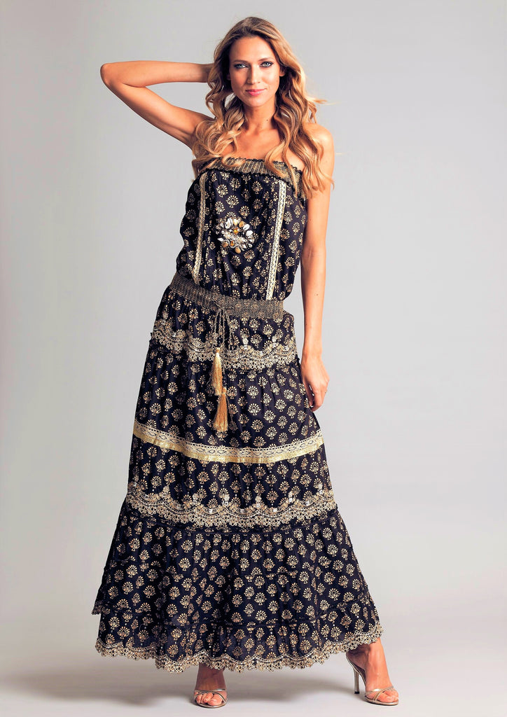 Bandeau Luxe Maxi embroidery Dress  Miami in Black/Gold