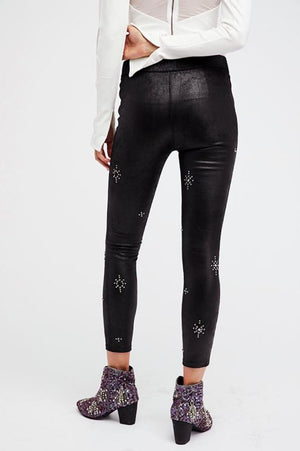 Free People Embellished Leather Look leggings in Black