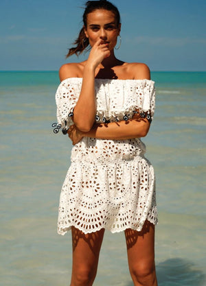 White Brodrie anglais mini  Dress Eyes