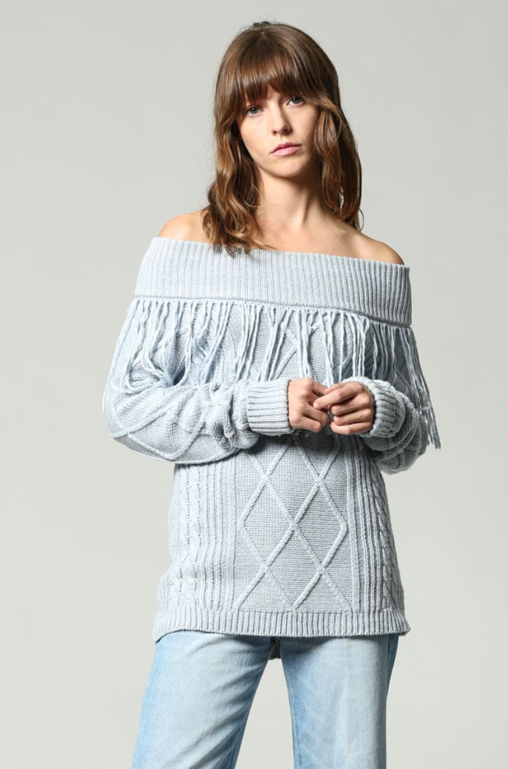 Cowgirl Fringed off the shoulder pullover in powder blue