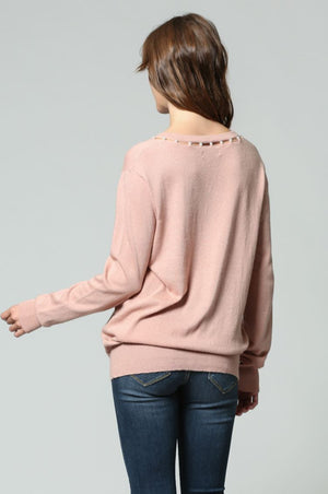 V neck pearl sweater in Blush