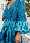 Maxi Layered Dress Felice in Contrasting Blue print