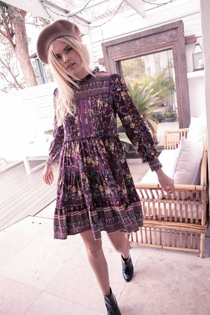 Fernanda Dress in Plum Essie Print
