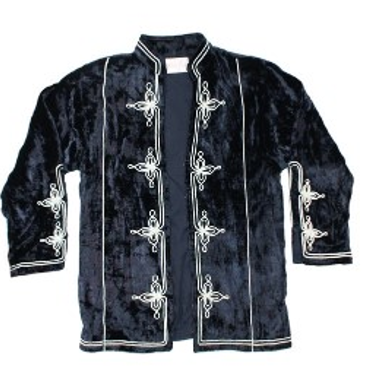 Designer Velvet Jacket Fezz in Navy