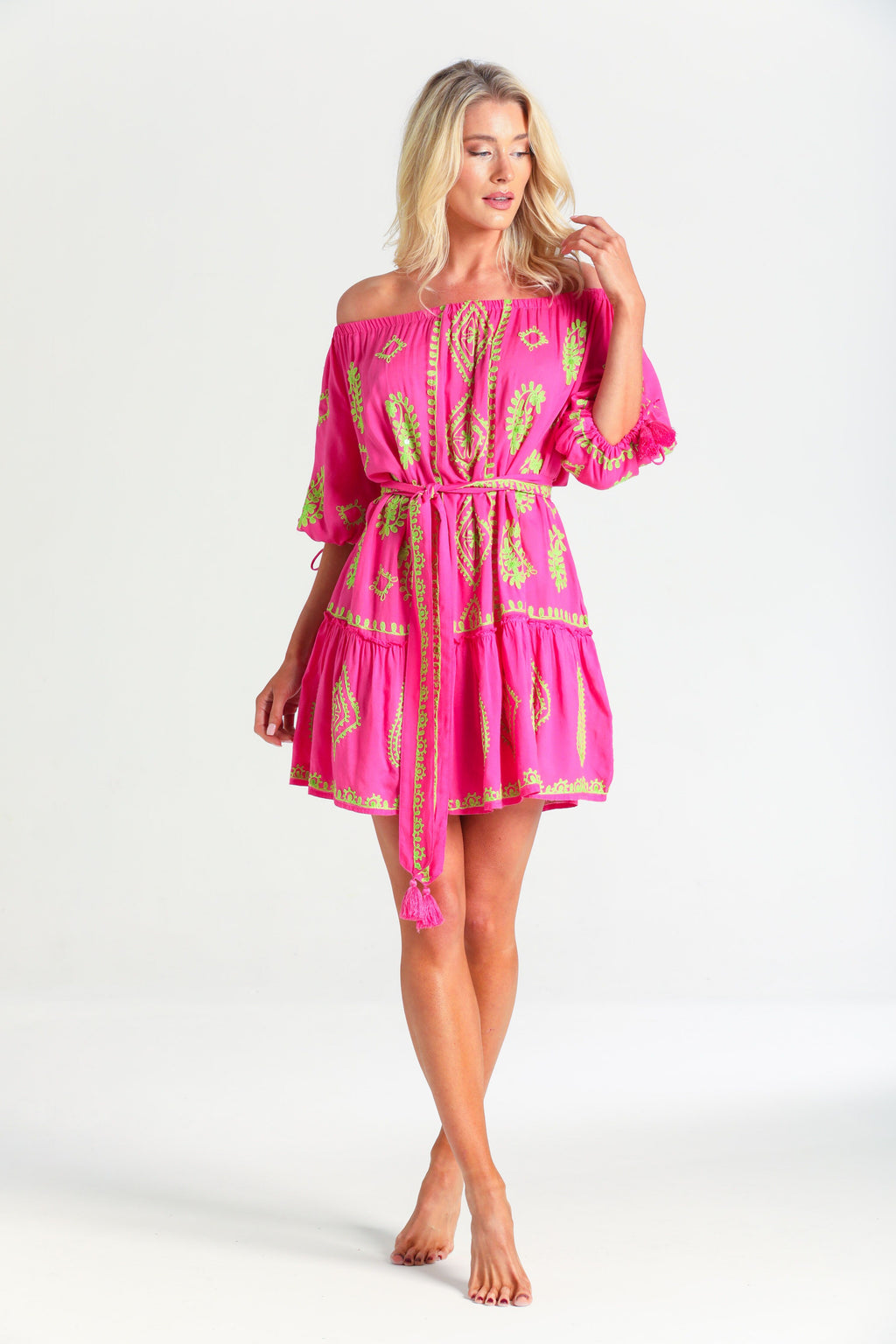 Pranella Off shoulder Fifi Embroidery Dress in Neon Pink Lime