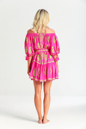 Off shoulder Fifi Embroidery Dress in Neon Pink Lime