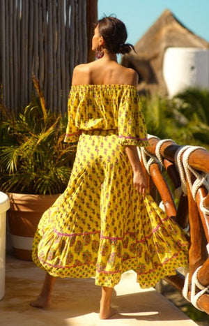 Off shoulder boho print top Flamenco