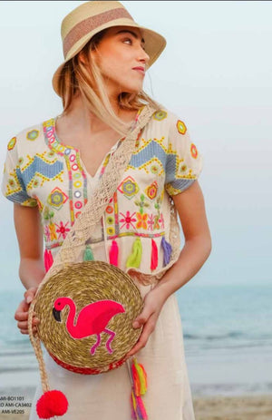 Flamingo Round beaded straw Bag