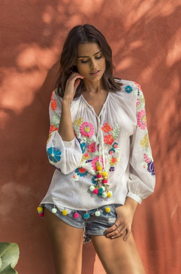 miss june embroidery top flores