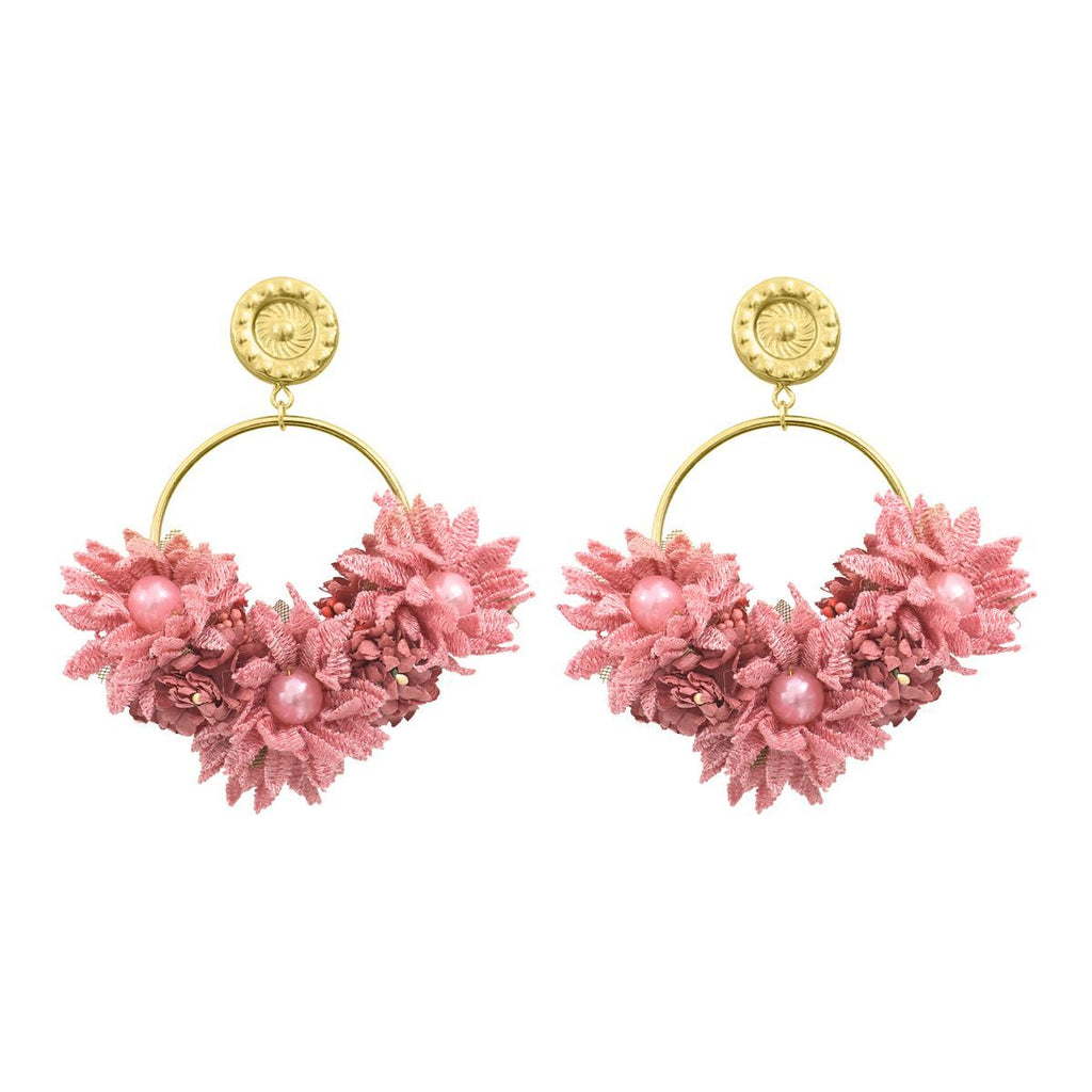 Flower Hoop Earrings in Rosewood Mono