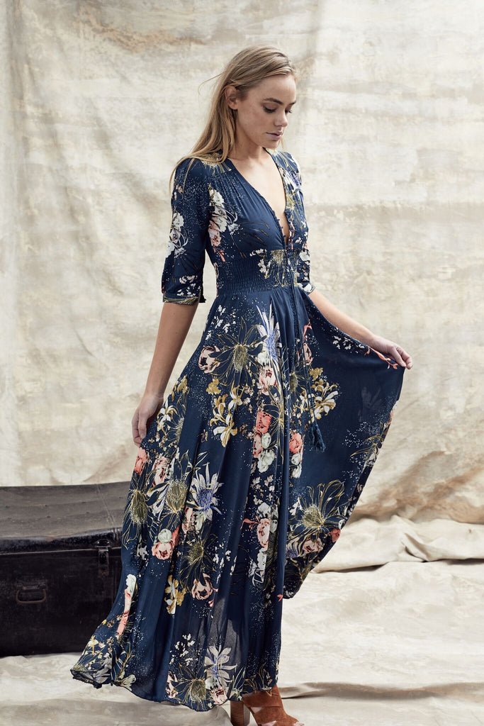 Jaase Maxi Dress Indiana in Flowerbomb print with long sleeves