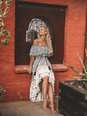 Monochrome off Shoulder Maxi hi low dress Tulum