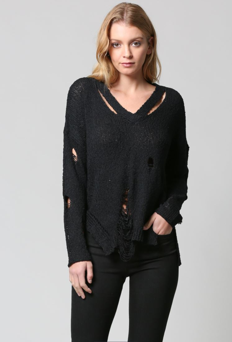 V NECK DISTRESSED LIGHT WEIGHT Jumper