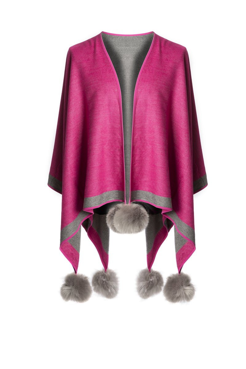 Reversible Cashmere & Silk Cape with Faux Fur Pompom