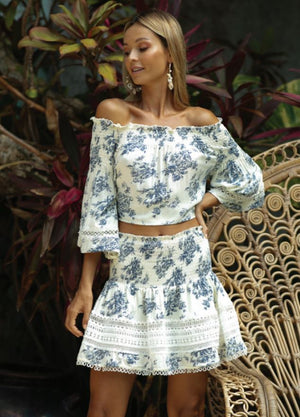 White / blue print Mini skirt Gabriela