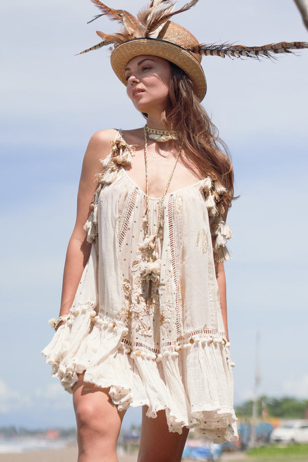 Gado Gado Ivory/Gold Dress with Tassel Ties