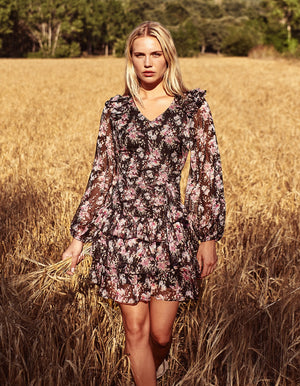 Mini Dress Garden with Gold Foil Print
