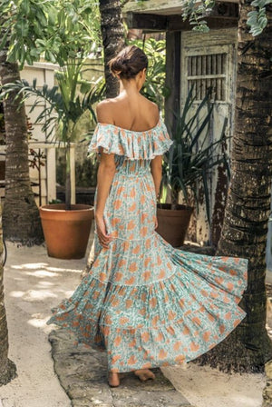 maxi summer off shoulder dress